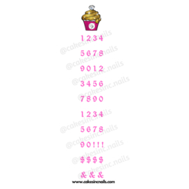CakesInc.Nails - Pink Old English (Numbers) 'NAIL DECALS'