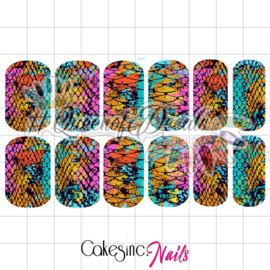 Queen of Decals - Multi Coloured Mixed Snake Print 'NEW RELEASE'