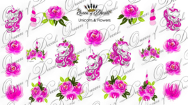Queen of Decals - Unicorn & Pink Flowers