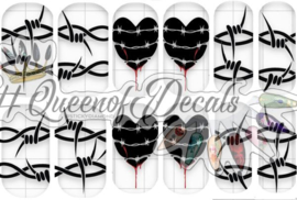 Queen of Decals - Heart & Barbed Wire