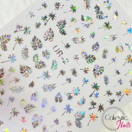Glitter.Cakey - Silver Holo Palm Trees & Leaves 'Sticker Sheet'