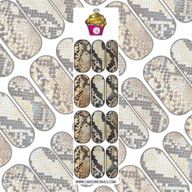 CakesInc.Nails - Nude/Brown Snake Skin 'NAIL DECALS'