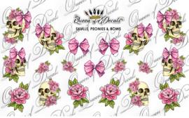 Queen of Decals - Skull Peonies & Bows