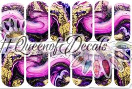 Queen of Decals - Purple & Gold Marble