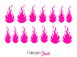 Queen of Decals - Hot Pink Flame  'NEW RELEASE'