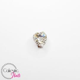 Glitter.Cakey - Silver Clear Rotation Heart Charm