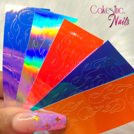 Queen of Decals - Holographic Ghost Flames '5 MIXED' Sticker Sheets
