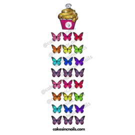 CakesInc.Nails - Large Summer Butterflies 'NAIL DECALS'