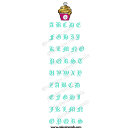 CakesInc.Nails - Mint Old English (Alphabet) 'NAIL DECALS'