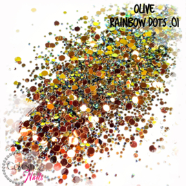 Glitter.Cakey - Olive 'RAINBOW DOTS .01'