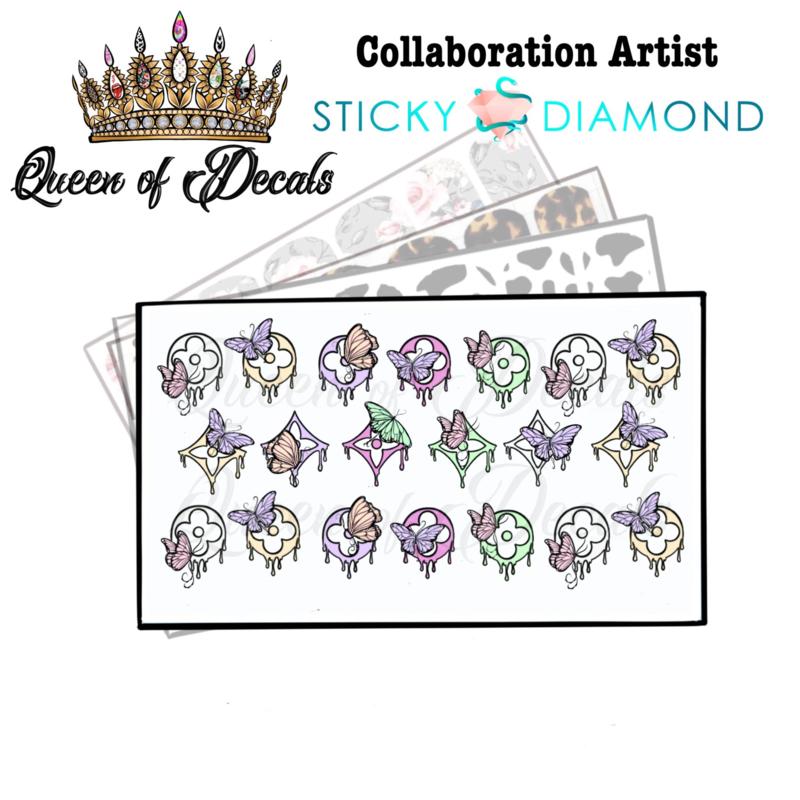 Queen of Decals - Pastel Drip Butterflies  'NEW RELEASE'