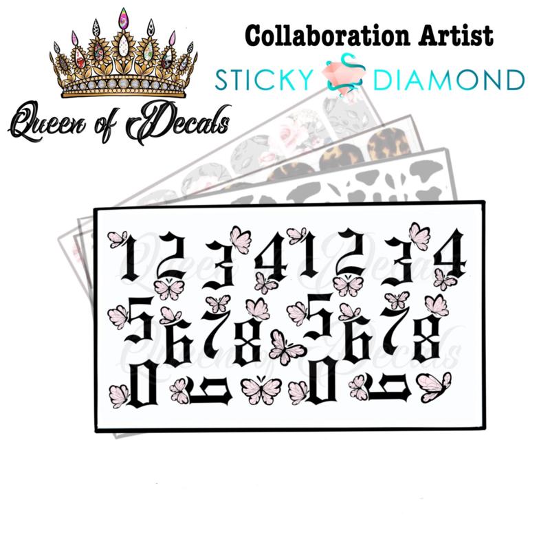 Queen of Decals - Black Ghothic Numbers & Butterflies 'NEW RELEASE'