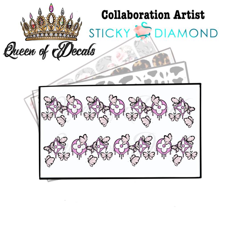 Queen of Decals - Pink Drip Butterflies  'NEW RELEASE'