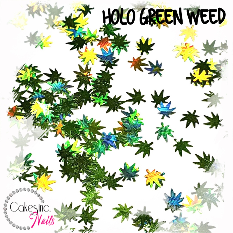 Glitter.Cakey - Holo Green Weed Leaves