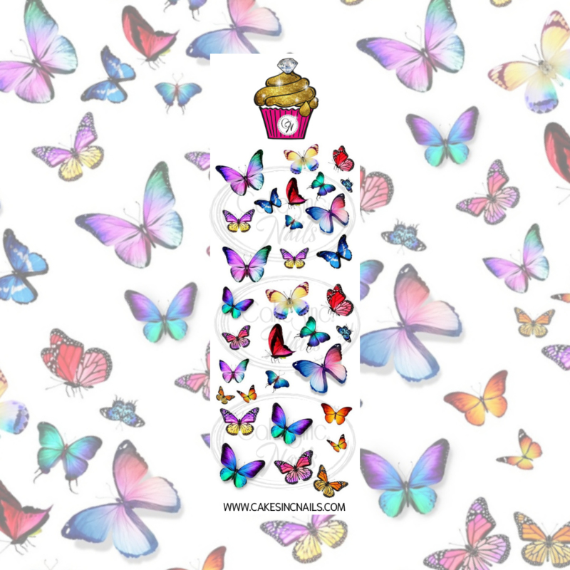 CakesInc.Nails - Pastel Butterflies 'NAIL DECALS'