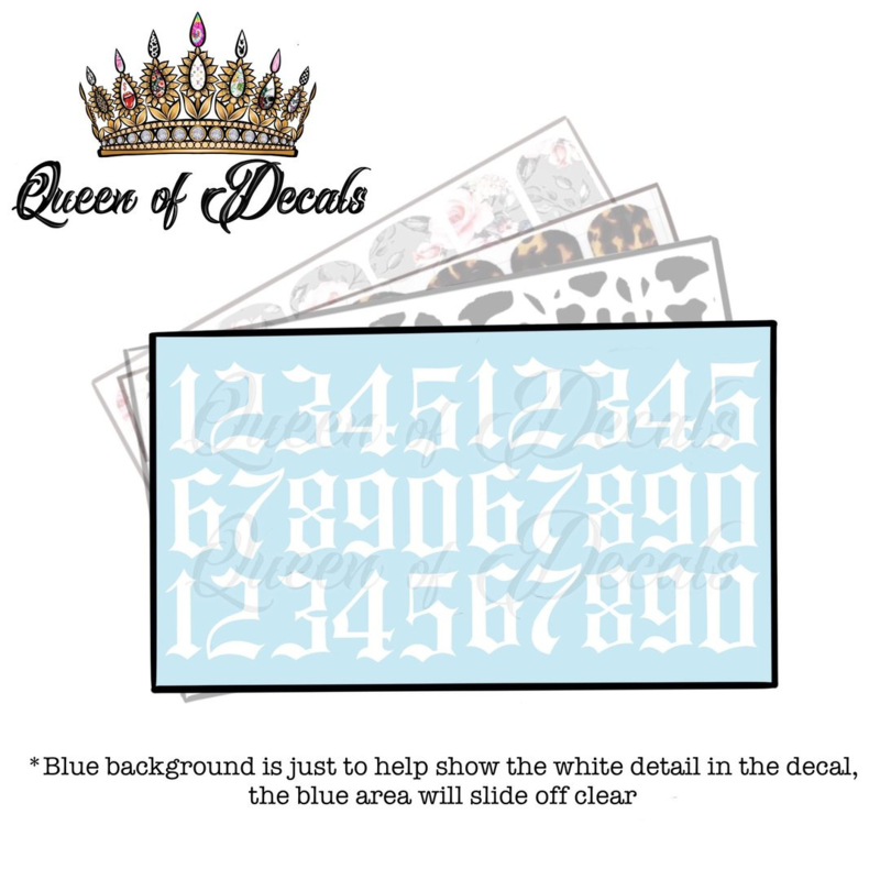 Queen of Decals - White Gothic Numbers  'NEW RELEASE'