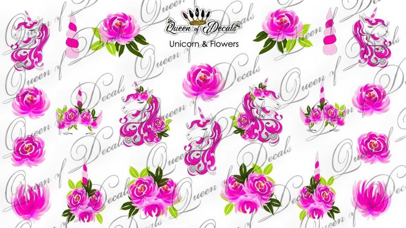 Queen of Decals - Unicorn & Pink Flowers