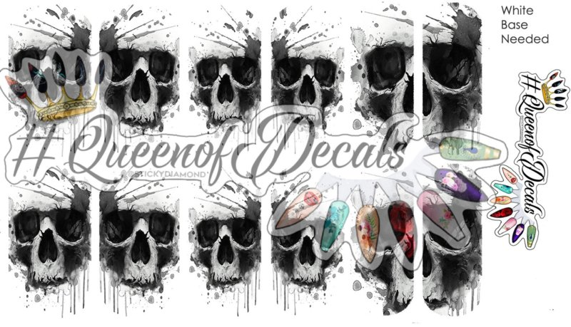 Queen of Decals - Watercolour Splashy Skulls (full cover)