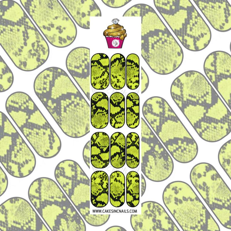CakesInc.Nails - Bright Yellow Snake Skin 'NAIL DECALS'