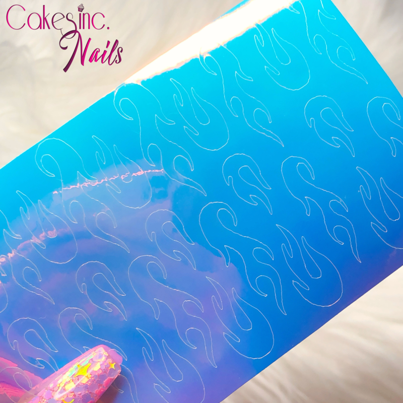 Queen of Decals - Holographic Ghost Flames 'Pink Opal'