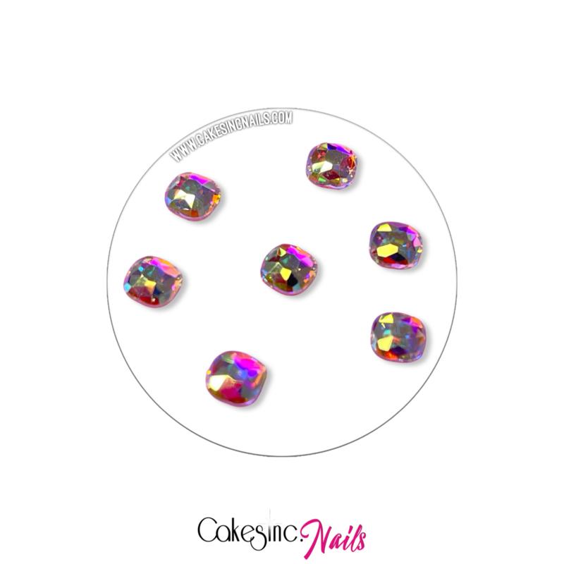Crystal.Cakey - Classical Square (4x6mm) 'Aurora Borealis'
