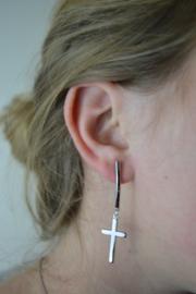 Cross earrings silver
