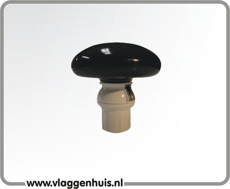 Rix knop plat zwart PVC incl. passtuk