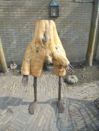 Sculptuur Boomstronk Man hout/ijzer gesigneerd