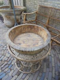 Antieke Olijfbak Rond zeer fraai patina van ouderdom