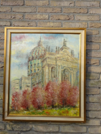 Olieverf schilderij Basiliek van Oudenbosch pracht exemplaar