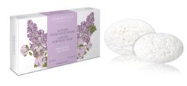 Luxe artisanale zeep lilabloesem geschenkdoos 2 * 150 gram
