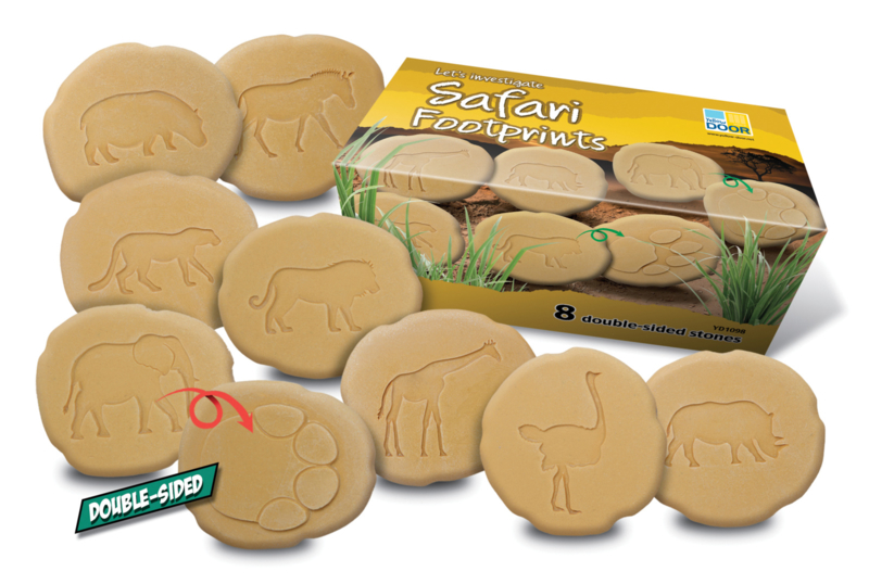 Yellow Door - Op ontdekking - Pootafdrukken safari dieren (set van 8 stenen)