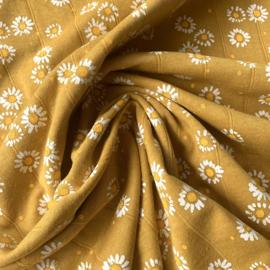 Double gauze tricot daisy oker