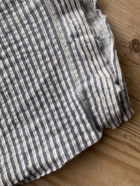 Seersucker tricot streep blauw