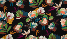 Viscose tricot bright flowers