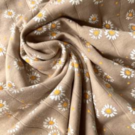Double gauze tricot daisy sand
