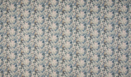 Voile popeline digital flowers vintage blue