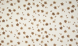 Tricot flowers camel brown