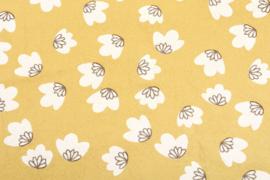 Gewassen katoen bloemetjes zachtgeel