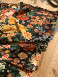 Tricot bold flowers navy