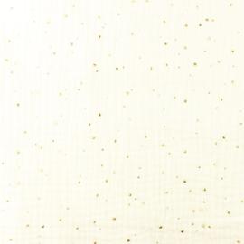 Double gauze golden dots ecru