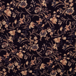 Flory leafs viscose navy
