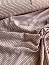 Katoentricot stripes dusty lilac
