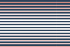 Tricot retro streep donkerblauw