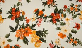 Crepe Georgette tangerine flowers