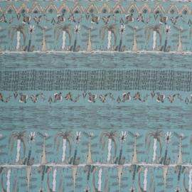 Katoen Palmtrees&Birds blauw