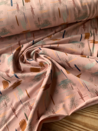 French terry brushed ikat oud roze