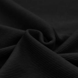 Ottoman rib tricot zwart