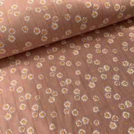Double gauze tricot daisy oudroze
