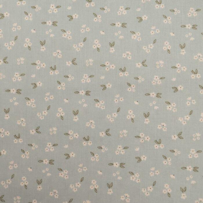Popeline fos flower oud blauw